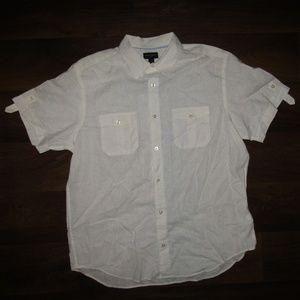 Banana Republic Shirt White Sz XL Men Button